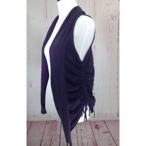Bebe Black Silk Side Tie Vest Small